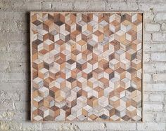Bonificata legno parete arte, assicella, geometriche, cubi, modello, 30 x 30