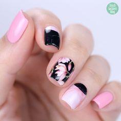 Sticker Gigant – Marmor Magnolia – Nailwraps – Nagelsticker Rosa Schwarz – swatch by frischlackiert