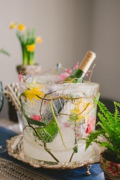 Serve drinks in a floral ice bucket