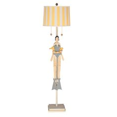 Cream and Yellow One-Light Girl with Tube Floor Lamp