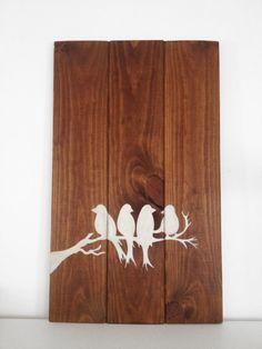 """Cuadro en madera hecho a mano """"pájaros"""""""