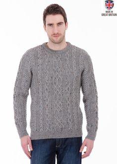 Thorpe - Dark Grey Nepp Jumper - Pure British Wool - Mens Aran Jumper Sweater - Made in Great Britain   Sweateronline - Fine British Knitwear