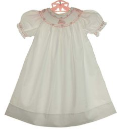 NEW  Highland Porch White Cotton Smocked Bishop Dress with Pink Birthday Cake Embroidery and Matching Slip $85.00