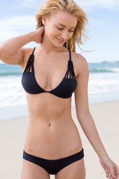 Hanalei Dreams 2015 Collection Frankie's Bikinis Marina Bottom in Jet Black Seamless Boy Shorts Bikini Bottom Ultra comfortable 83% Nylon 17% Spandex Frankie's Bikinis Style 315 Made in the United States of America #frankies