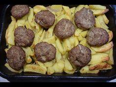 μπιφτέκια με λεμονάτες πατάτες στο φούρνο της μαμάς burgers with lemon sauce potatoes CuzinaGias - YouTube
