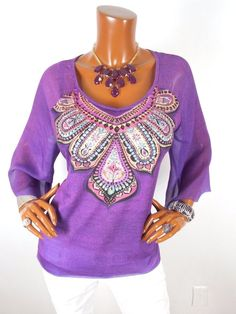 CHICO'S Sz 2 Womens Top M L Light Weight Spring Blouse Casual Shirt Purple Gems #Chicos #Blouse #Casual