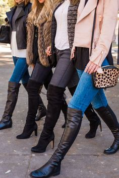 Chic at Every Age Over the Knee Boots Flat Leather Boots, Leather Riding Boots, Over The Knee Boot Outfit, Knee High Boots, High Heels, Fashion Boots, Fashion Outfits, Stuart Weitzman, Jeans And Boots