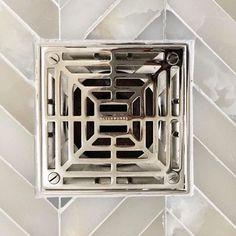 Modern Bathroom Tile, Rustic Bathroom Designs, Bathroom Colors, Master Bathroom, Shower Drain, Shower Faucet, Kitchen Fixtures, Bathroom Fixtures, Waterworks Bathroom