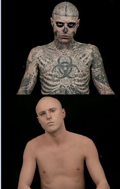 Rick Genest... A promo put out by makeup company (dermablend)! Zombie Boy w/out his tats.. CRAZY Hes kinda hot without them lol I LOVE this make up, covers up any scars and other things I dont like to show off!