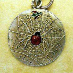 Antique Art Nouveau Czech Silver Enamel Lucky Spider Fly in Web Rebus Charm   eBay