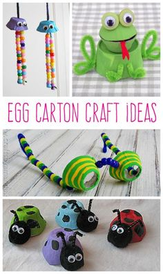 Fun crafts to make with all those empty egg cartons after Easter!Fun crafts to make with all those empty egg cartons after Easter! Crafts To Make, Fun Crafts, Crafts For Kids, Arts And Crafts, Egg Carton Art, Egg Carton Crafts, Craft Activities For Kids, Projects For Kids, Craft Projects
