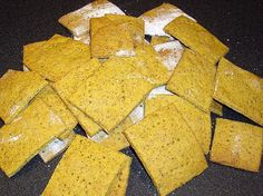 Gluten Free Chickpea Crackers Recipe   Ingredients:  1 1/2 cups chickpea flour   1/2 cup rice flour   1/4 teaspoon salt   1 teaspoon gluten free baking powder   1/2 teaspoon turmeric   1/3 cup flax seed meal   1 tablespoon canola oil   3/4 cup water