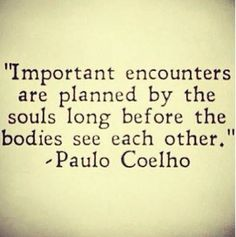 """""""Important encounters are planned by the souls long before the bodies see each other"""" - Paulo Coelho .."""