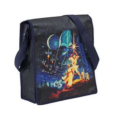 """The back of the bag is surrounded by stars and has the phrase """"A long time ago in a galaxy far far away."""". This bag has adjustable handle and velcro closure, a large main compartment, two accessory pockets, and it is durable and weather resistant.   eBay!"""