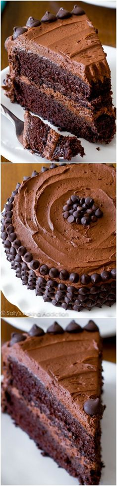 Triple Chocolate Layer Cake. The fudgiest homemade chocolate cake ever! death by chocolate. chocolate layer cake. best chocolate cakes. best chocolate recipes @sallybakeblogview more details