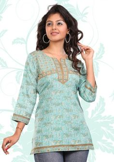 Indian Tunic Top Womens / Kurti Printed Blouse « Clothing Impulse