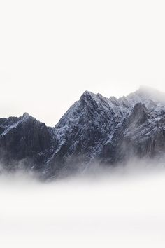 mountains fading into mist