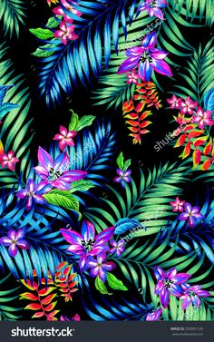 stock-photo-seamless-floral-tropical-print-midnight-exotic-flowers-and-plants-in-a-dramatic-composition-for-259091129.jpg (1000×1600)