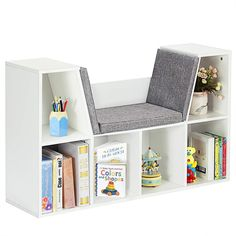 """Abundant Storage Space:6 Cubes in total for a variety of items, with whole size of 40.5"""" x 12"""" x 25"""" can hold items range from pantry items, folding clothes and shoes to books, toys, artworks and fabric drawers; 2 top wooden shelves offer you extra space for lamp or clocks. Top Shelf Seating: Versatile bench design with comfortable cushion provides a good reading. $89"""