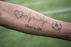 OUR GAME: Is soccer your lifestyle ... Soccer Tattoos, Football Tattoo, Sport Tattoos, Body Art Tattoos, Sleeve Tattoos, Tatoos, Tattoo Fonts, I Tattoo, Stick Figure Tattoo