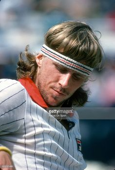 Bjorn Borg of Sweden sits down in between games during a match at the Men's 1978 US Open Tennis Championships circa 1978 at the National Tennis Center in the Queens borough of New York City.