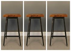 Barstool Set of 3, Industrial Stool, Bar Stool, Shop Stool, Metal Stool