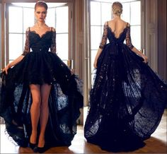 Black Lace Prom Dresses 2015 Hi Lo Prom Dress With Half Sleeves Backless High Low Wedding Party Dresses Off Shoulder Ball Gowns With Straps
