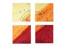 """4-teiliges Bilder-Set Abstrakte Kunst - Moderne Kunst Art """"Sonnenglut"""" Acrylmalerei in orange, gelb, rot von Susannes Kreativ-Lädchen auf DaWanda.com"""