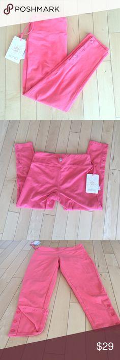 Brand New Coral Yoga Crops xs organic cotton Never been worn! Cute, coral crop pants. 95% organic cotton, 5% lycra. Satva Pants Capris