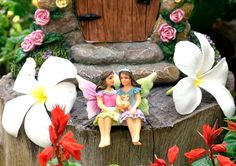 Miniature Fairy Garden Sisters Alice & May (Hand Painted) by Twig & Flower.