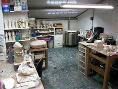 ceramic studio- I like this one partly because it is realistic. Most of the studio's I've pinned are too... clean.