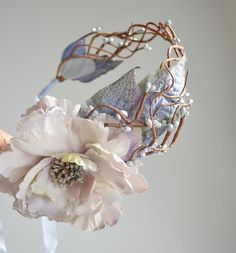 Wedding head piece, medieval crown, floral headband, lavender flower hair accessory - Lady of the lake. $74.00, via Etsy.