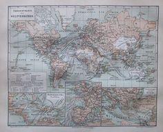 1888 ÜBERSICHTSKARTE DES WELTVERKERHRS historische Landkarte