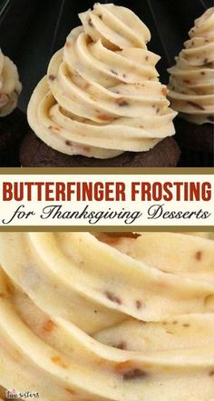 Butterfinger Buttercream Frosting This absolutely is the Best Butterfinger Frosting for all your Thanksgiving Desserts. Creamy and delicious and super easy to make, this Butterfinger icing will make every Thanksgiving Treat you put it on better, we promis Frosting Recipes, Cake Recipes, Dessert Recipes, Buttercream Frosting, Cake Icing, Sweet Recipes, Dinner Recipes, Food Cakes, Cupcake Cakes
