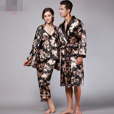 035c827dce 2017new Free Shipping Couple Pajamas Emulation Silk Women Pijama Full  Sleeve Men Pyjama V-neck