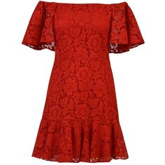 Valentino Guipure Lace Mini Dress (100,090 PHP) ❤ liked on Polyvore featuring dresses, red, lace dress, valentino dress, lacy red dress, mini dress and short lace dress