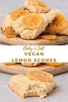 Perfectly flaky and moist Vegan Lemon Scones topped with sweet homemade candied lemons. The perfect way to use up that candied lemon syrup! Best Vegan Desserts, Vegan Dessert Recipes, Vegan Breakfast Recipes, Breakfast Ideas, Candied Lemon Slices, Candied Lemons, Vegan Scones, Lemon Recipes, Vegan Baking