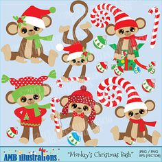 Christmas clipart perfect for scrapbooking, invitations, party favors etc... https://www.etsy.com/listing/168912190/40-off-holiday-christmas-monkey-bash-for?ref=shop_home_active