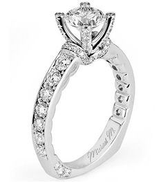 R510-From Michael M. Collection Lace-like design trims this platinum European-shank Engagement Ring featuring pave-set diamond shoulders, diamond-decorated prongs