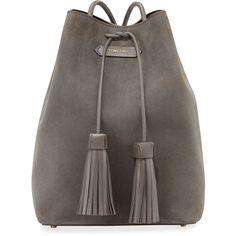 TOM FORD Suede Double-Tassel Medium Bucket Bag ($2,220) ❤ liked on Polyvore featuring bags, handbags, backpack, сумки, sacs, dark gray, suede bucket bag, tassel purse, backpack purse and back pack purse