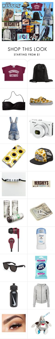 """Hershey Park"" by alyssab3773 ❤ liked on Polyvore featuring Hershey's, Pieces, Mossimo, Vans, LTB, Nikon, Crate and Barrel, Skullcandy, RetroSuperFuture and NIKE"