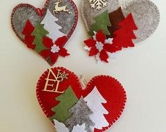 Heart with winter landscape, Christmas tree decoration in felt and wood, soft felt heart, Christmas ornament, trees