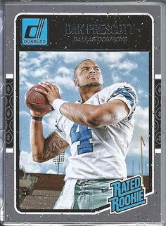 2016 Donruss 362 Dak Prescott Dallas Cowboys Football Rated Rookie Card in  Protective Screwdown Display Case    You can get additional details at the  image ... 07b83719b