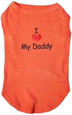 Mirage cat Products 16-Inch I Love My Daddy Screen Print Shirts for cats, X-Large, Orange *** See this awesome image  : Cat Apparel