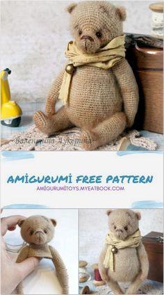 Crochet Teddy Bear Pattern, Crochet Amigurumi Free Patterns, Crochet Animal Patterns, Crochet Bear, Stuffed Animal Patterns, Crocheted Animals, Bear Toy, Knitted Dolls, Teddy Bears