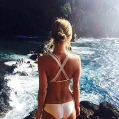 Strappy bikini.