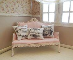 Shabby sofa style miniature dollhouse 112 scale by LasMInisdeMaini, €27.00