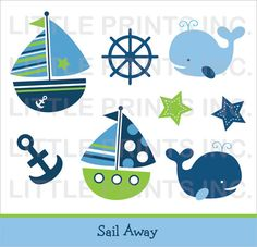 Sail Away Nautical Clip Art INSTANT by LittlePrintsParties on Etsy, $5.00