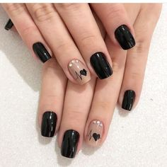 60 cool black nail designs to try out .- 60 coole schwarze Nageldesigns zum Ausprobieren 60 cool black nail designs to try out # Nail designs the - Cute Acrylic Nails, Cute Nails, Pretty Nails, Red Nail Art, Red Nails, Black Nails, Color Nails, Matte Black, Black Nail Designs