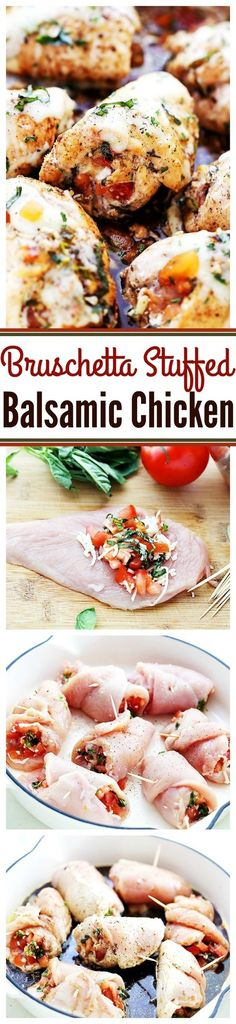 Bruschetta Stuffed Balsamic Chicken - This is the juiciest chicken you will ever. Bruschetta Stuffed Balsamic Chicken - This is the juiciest chicken you will ever have! Baked in a delicious balsamic mixture and stuffed wit. Balsamic Chicken, Balsamic Onions, Balsamic Glaze, Chicken Bacon, Rotisserie Chicken, Roasted Chicken, Cooking Recipes, Healthy Recipes, Snacks Recipes